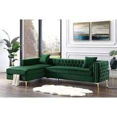 Our velvet left facing sectional sofa with chaise lounge will give your home the renaissance it deserves. Comfort and style is evident in this dynamic sofa. This sectional features rich hued button tufted velvet fabric with contrasting nailhead trim Living Room Green, My Living Room, Living Room Decor, Green Living Room Furniture, Sectional Sofa With Chaise, Sofa Set, White Loveseat, Bed Couch, Sofa Chair