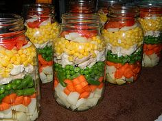 Steven has promised to buy me a pressure canner if I promise to make him homemade canned soup! Can't wait to make this one from ~ Farm Girl Tails: Layered Chicken Soup Vegetable Soup With Chicken, Canned Chicken, Chicken And Vegetables, Chicken Soup, Canning Vegetables, Canning Chicken Noodle Soup, Veggie Soup, Recipe Chicken, Chicken Recipes