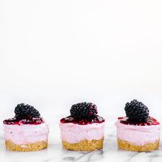 No Bake Mini Blackberry Cheesecakes Recipe