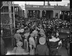 Mexican workers await legal employment in the United States in Mexicali in 1954 (Los Angeles Times photographic archive - UCLA Library)