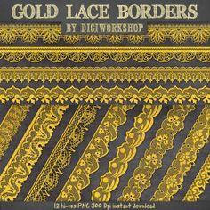 """Lace borders clipart """"Gold Lace borders"""" by DigiWorkshop #golden #illustration #lace #scrapbooking #boder #clipart #creative #digital papers #gold #lace"""