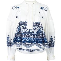 Sacai tribal lace printed blouse (£940) ❤ liked on Polyvore featuring tops, blouses, white, tribal print tops, long sleeve tops, white lace blouse, lacy tops and pattern blouses