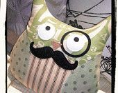 Owl Mustache Plushie Pillow Monocle - Green Cream Stripes Dots