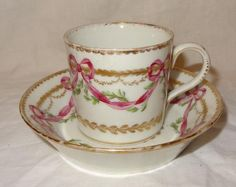Rare Late 18th Century NYON Swiss Sevres Style Continental Porcelain Can Saucer
