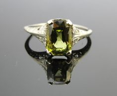 Art Deco 1920s Ring with Rare Green Chrysoberyl, One of a Kind Engagement Ring, RGCRY101D, $685.00