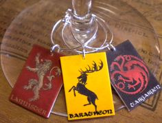 8 Game of Thrones House Sigils Wine Charms for the Wine Lover Great Best Friend Gift FAST Shipping in a Great Gift Tin by FortySevenGems on Etsy https://www.etsy.com/listing/185420099/8-game-of-thrones-house-sigils-wine