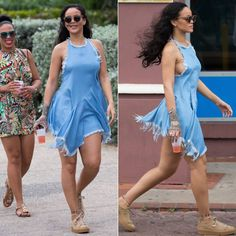 Rihanna Marques'Almeida denim halter top, Finlay and Co Thurloe wooden round sunglasses, Puma by Rihanna oatmeal suede creepers, Jacquie Aiche diamond halter bra, Pandora bracelet Rihanna Bikini, Rihanna Riri, Rihanna Style, Rihanna Body, Milan Fashion Weeks, New York Fashion, Looks Rihanna, Rihanna Thick, Jean Dress Outfits