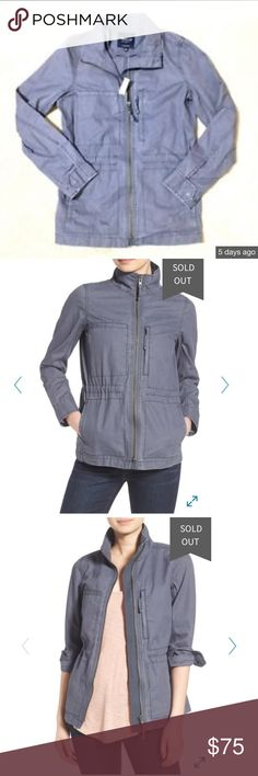 "NEW Madewell Fleet Jacket Gray XXS Madewell Fleet Jacket  Sold out in stores and online!  Has a Denim feel  Tag size: XXS Fabric: 100% Cotton  Underarm-to-underarm 15"" Length 25"" Sleeve Length 22.5"" Madewell Jackets & Coats"