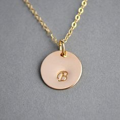 SALE 10% Personalized Necklace, Gold or Silver Initial Disc Necklace by malizbijoux. Explore more products on http://malizbijoux.etsy.com