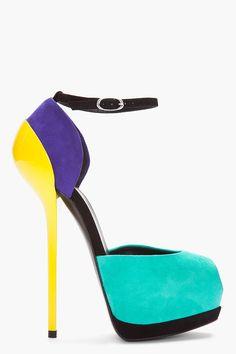 GIUSEPPE ZANOTTI turquoise colorblock Sharon Heels