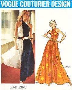 Sewing Pattern: 1970s Galitzine lounge pantdress pattern - Vogue 2731