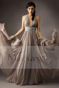 e46864f972c Robe Effet Ceinture Taupe - robes de soirée - maysange Robe Longue