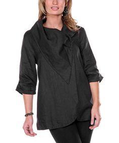 Look what I found on #zulily! Black Drape Collar Linen Jacket #zulilyfinds