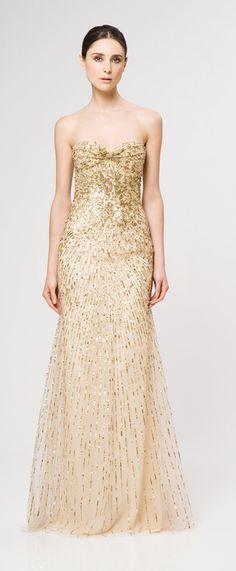 Vestido nude + detalles dorados / Reem Acra