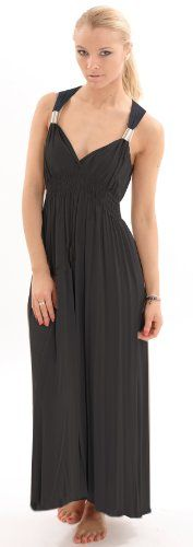 Stunning Grecian Jersey Maxi Dress with Adjustable Silver Clasps in Black One Size 410 -- Check out this great product.