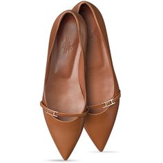 Hermès Laura Ballerina (2.965 BRL) ❤ liked on Polyvore featuring shoes, flats, footwear, pumps, flat shoes, ballet shoes flats, pointy-toe flats, pointed ballet flats and pointed flat shoes