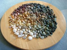Arranging stones according to color and shade...so fun to arrange your collection.
