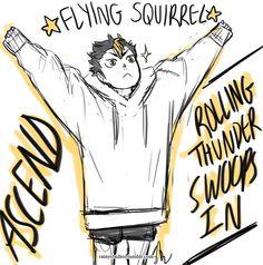 Nishinoya wearing Asahi's giant sweatshirt.