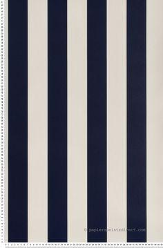 Rayures bleu marine et blanches - Papier peint Lutèce