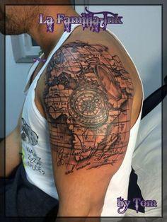 Tattoo-Foto: Weltkarte Kompass