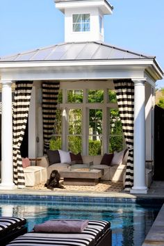 A gazebo is a pavilion structure, often built in a garden, next to the pool. We have a bunch of cool ideas showing how you can decorate a pool gazebo. Outdoor Curtains, Outdoor Rooms, Outdoor Living, Outdoor Retreat, Gazebo Curtains, Ceiling Curtains, Mosquito Curtains, Backyard Retreat, Outdoor Kitchens