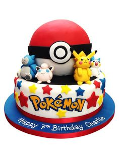 Pokemon Cake, Creative Pokemon Birthday Party Ideas via Pretty My Party Pokemon Torte, Pokemon Cakes, Pokemon Pokemon, Bolo Pikachu, Pikachu Cake, Festa Pokemon Go, Pokemon Birthday Cake, Birthday Cakes, Fondant Cakes