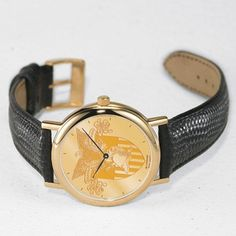 West Point Men's Swiss Watch - Gold Medallion with Leather Strap by M.LaHart & Co.. $249.00. Classic American style by M.LaHart. Officially licensed by the U.S. Military Academy. Three-year warranty.. Attractive M.LaHart & Co. gift box.. Swiss-made quartz movement with 7 jewels.. West Point men's gold medallion watch featuring die-struck gold medallion dial with raised USMA crest. Three-piece case construction with jewelry-grade gold finish. Quartz movement crafted in Swi...