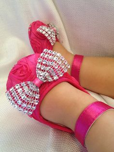Baby bling bow shoes