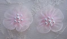 12 pc PINK Organza Pearl Beaded Ribbon by delightfuldesigner