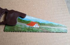 Mini Handsaw, Metal Art Summer Oil Painting Landscape by annimae182