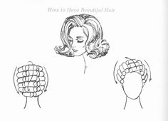Late 1960's, early 1970's roller setting pattern for this popular flip hairstyle.