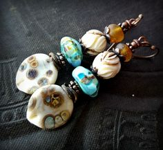 Lampwork Glass, Lampwork Headpins, Lotus Flower, Amber, Primitive, Organic, Rustic, Earthy, Beaded Earrings by YuccaBloom on Etsy