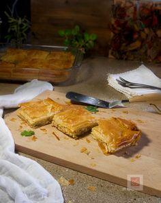 Από τα χειρόγραφα των γιαγιάδων, παλιά ελληνική συνταγή για κοτόπιτα του προ-προηγούμενου αιώνα. Λευκή, ζουμερή, βουτυράτη, με εκπληκτική γέμιση μέσα σε τραγανό φύλλο. Greek Chicken, Butcher Block Cutting Board, French Toast, Pie, Breakfast, Kitchen, Food, Kitchens, Torte