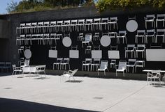 Fernmob chairs at the Oakland Museum  plaza- idea for sample tables + chairs?