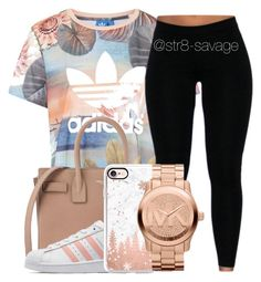 """""""Get loose"""" by str8-savage ❤ liked on Polyvore featuring adidas, Yves Saint Laurent, adidas Originals, Casetify and Michael Kors"""