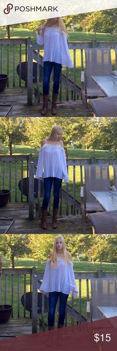 NY&C long sleeve shirt Gorgeous ivory NY&C long sleeve shirt. Only worn twice. New York & Company Tops Tees - Long Sleeve