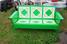 vintage metal porch glider. Dot and Diamond is how this Bunting Glider is referred to. It has been carefully restore and painted.