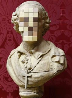 """Banksy just unveiled a brand new sculpture called Cardinal Sin which is a 18-century stone bust of a priest with its face sawn off and replaced by blank """"pixelated"""" bathroom tiles. It was created as a response to the child abuse scandal in the Catholic church and its subsequent cover-up."""
