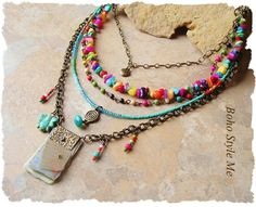 Bohemian Jewelry, Colorful Layered Beaded Necklace, Modern Hippie, Urban Gypsy, Boho Chic, Boho Style Me, Kaye Kraus by BohoStyleMe on Etsy