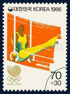 POSTAGE STAMPS OF SEOUL OLYMPICS 1988, Gymnastics, Rings, Sports, Crimson, Yellow, 1986 03 25, 88 서울올림픽, 1986년 3월 25일, 1417, 체조, postage 우표