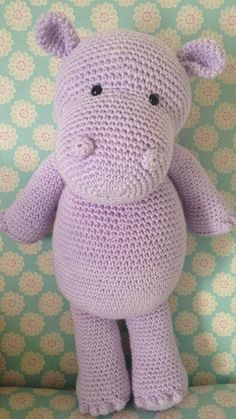 Happy Hippo – Free Crochet / Amigurumi Pattern (Heart & Sew) Is a hippopotamus really a hippopotamus or just a very cool opotamus? Crochet your very own cool, cuddly pal complete with bobble fingers and toes! Crochet Hippo, Crochet Diy, Crochet Animals, Crochet Crafts, Crochet Projects, Sewing Projects, Crochet Stuffed Animals, Crochet Rabbit, Crochet Birds