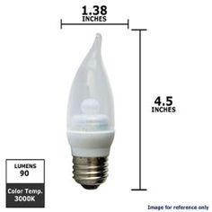 Ge 2.2w 120v 3000k Dimmable Clear Candelabra LED Light Bulb
