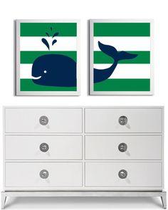 Nursery Whale Kids Room Art Nautical Beach Ocean Sea Prep Stripes Navy Kelly Green more colors available set of 2 each 11x14. $42.00, via Etsy.