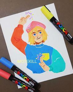 Posca Marker, Marker Art, Pretty Art, Cute Art, Anime In, Character Art, Character Design, Posca Art, Art Painting Gallery
