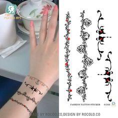 2 pcs/lot Selling Women Fashion Wrist Tattoos Vine Temporary Tattoo Female Tattoo Body Art Bracelets Tattoo Stickers