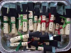Cheese stick snowmen for 1st grade Christmas party!