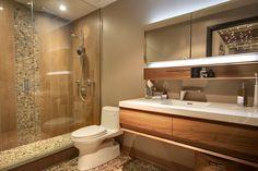 #AvalonInteriors: #wetstyle vanity & mirror, wood porcelain tile, pebble stone inserts and floor