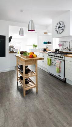 Polyflor Camaro Highland Slate 2346 Vinyl Flooring Vinyl Flooring, Kitchen Flooring, Retail Experience, Kitchen Cart, Slate, Dining, Table, Inspiration, Furniture