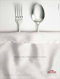 Restaurant Ad: Spoon & Fork for Valentines Day - from 20 Playful Happy Valentines Day Advertisement Ideas