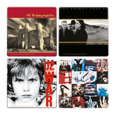 U2 4 Pc. Wood Coaster Set - This collection of classic U2 Wood Coasters features cover art that can decorate a table just as well as they can keep it dry.